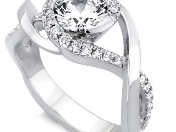 Ring - MARK SCHNEIDER SCINTILLATE    Lady's White 14 Karat Ring With 33=0.32Tw Round Diamonds and One Round CZ Center
