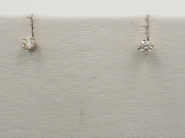 Earrings - Lady's White 14 Karat Stud Earrings With 2=0.25Tw Round G/H Si2 Diamonds