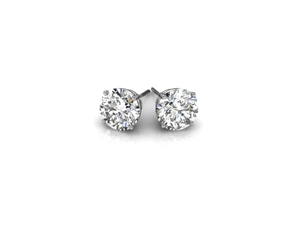 Earrings - DIAMOND STUD Earrings With 2=0.30Tw Round Brilliant H, Si3,  Diamonds
