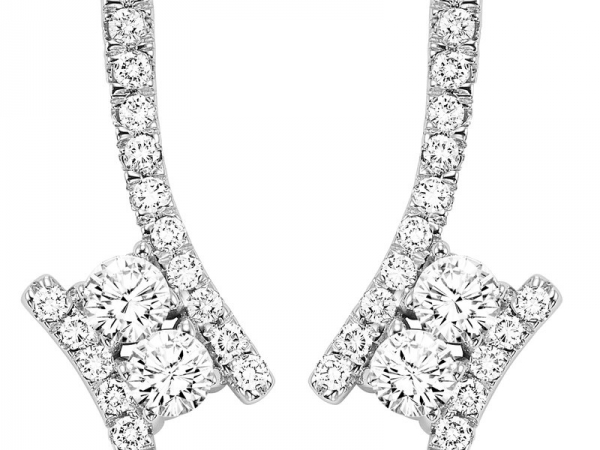 Earrings - Lady's White 14 Karat Twogether Earrings With 4=0.40Tw Round G/H Si1 Diamonds And 34=0.30Tw Round G/H Si1 Diamonds