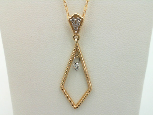 Pendant - Yellow 14 Karat Dangle Pendant With 6=0.18Tw Round G Si1 Diamonds HALF OFF ITEMS ARE NOT RETURNABLE