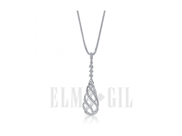 Pendant - White 18 Karat Drop Pendant With 69=0.47Tw Round G/H Si1 Diamonds