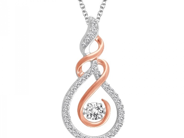 Pendant - Two Tone 10 Karat Rose/White  Dancing Diamond Pendant With One 0.20Ct Round G/H I1 Diamond And 37=0.30Tw Round G/H I1 Diamonds on 18