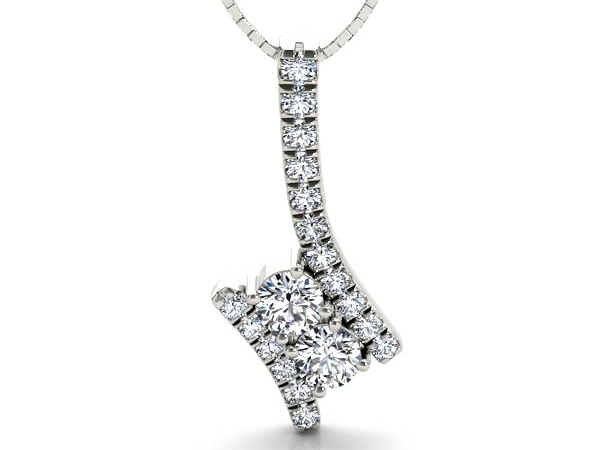 Pendant - White Sterling Silver Twogether Pendant Length 18 With 19=0.24Tw Round Diamonds