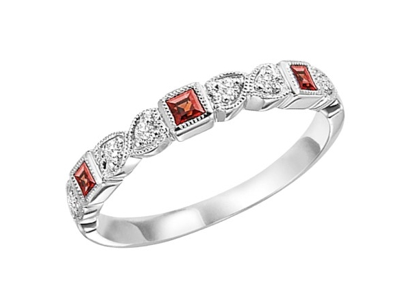 Fashion Ring - Lady's 10kt White Gold Stackable Half Anniversary Band / Fashion Ring, Size 7.25, With 3=0.16Tw Princess Garnets And 6=0.09Tw Pear Diamonds, Gm: 1.5