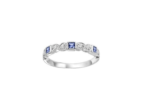 Fashion Ring - Lady's White 10 Karat Band Fashion Ring Size 7 With 3=0.22Tw Princess Sapphires And 6=0.08Tw Round Diamonds