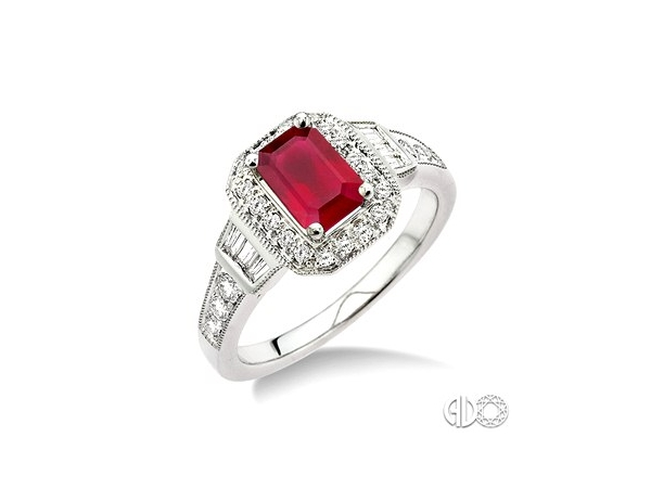 Fashion Ring - Lady's White 14 Karat Vintage style Fashion Ring Size 7 With One 6X4 Mm Emerald Cut Ruby, 6= Baguette Diamonds And 20= round H/I Si3 diamonds with a combined weight of .25 cts