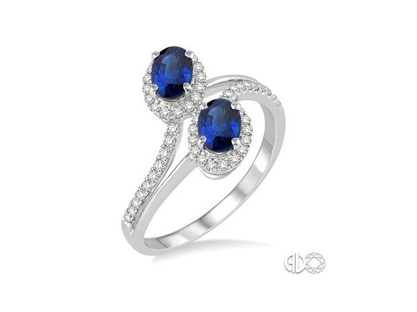 Fashion Ring - Lady's White 14 Karat Bi Pass Fashion Ring Size 7 With 2=6X4Mm Oval Sapphires And 52=0.28Tw Round H/I Si3 Diamonds