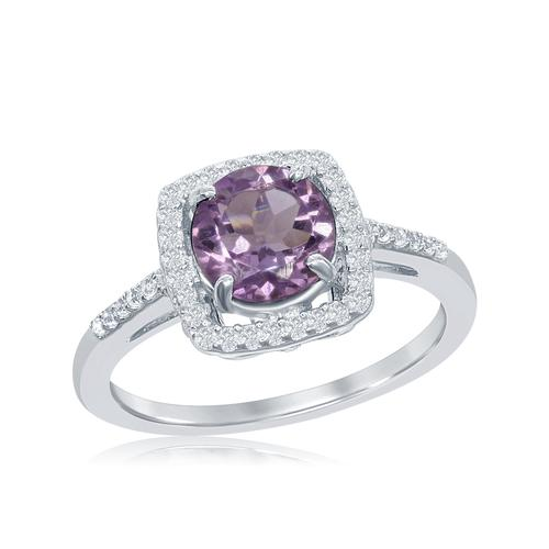 Fashion Ring - White Sterling Silver Halo Ring With One 1.50Ct Round Amethyst And 38= Round White Topazs
