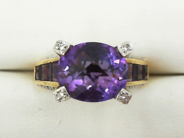 Fashion Ring - Lady's Yellow 18 Karat Fashion Ring Size 7.25 With 9=3.60Tw Various Shapes Amethysts And 28=0.22Tw Round Diamonds