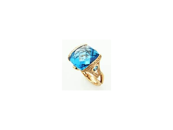 Fashion Ring - Bellarri Lady's Rose 14 Karat Contemporary Fashion Ring Size 7 With 5=15.35Tw Various Shapes Blue Topazs And 56=0.31Tw Round Diamonds
