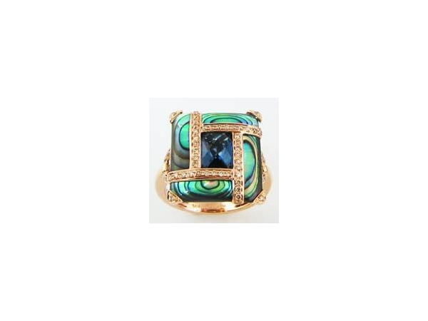Fashion Ring - Bellari Lady's Rose 14 Karat Contemporary Fashion Ring  From The 'Anastasia Collection' This Custom Designed Ring Contains .28ct of Genuine Diamonds, 1.65ct oof Genuine Blue Topaz And Four Inlays of Genuine Abalone having a combined weight of 4.00ct. Size 7