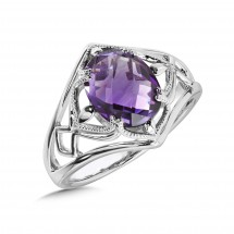Fashion Ring - Colore Lady's White Sterling Silver Vintage Fashion Ring Size 7.25 With One Oval Amethyst