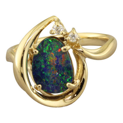 Fashion Ring - Lady's Yellow 14 Karat Free Form Fashion Ring Size 7 With One Various Shape Opal Doublet And One 0.03Ct Round Diamond