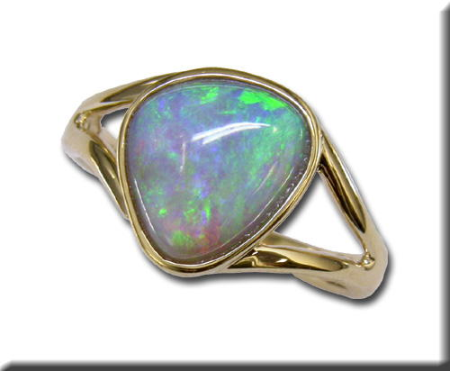 Fashion Ring - Lady's Yellow 14 Karat Fashion Ring Size 7 With One Various Shape Opal