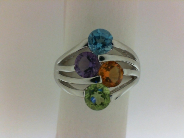 Fashion Ring - Benjamin Cohen Lady's White Sterling Silver Multi-Colored Stone Fashion Ring  With One Round Blue Topaz, One Round Amethyst,One Round Citrine, One Round Peridot Size 7, Ctw = 2.10