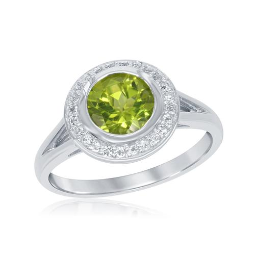 Fashion Ring - Lady's White Sterling Silver Fashion Ring Size 7 With One 1.15Ct Round Peridot And 24=0.09Tw Round White Topazs