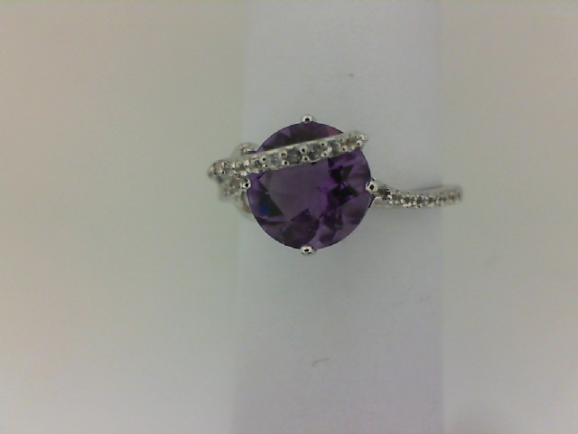 Fashion Ring - Lady's White Sterling Silver Fashion Ring Size 7 With One 1.50Ct Round Amethyst And 21=0.08Tw Round White Topazs