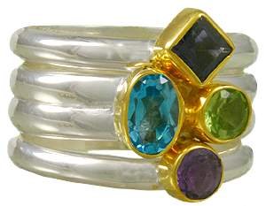 Fashion Ring - Michou Lady's Two Tone Sterling Silver/22Kt Gold Vermeil  Stackable Fashion Rings With One Round African Amethyst, One Round Peridot, One Oval Baby Blue Topaz, One Iolite. Three Rings  Size 7 each