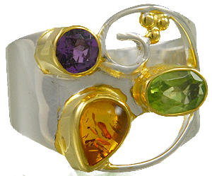 Fashion Ring - Lady's Two Tone Sterling Silver/22Kt Fashion Ring Size 7 one Pear Amber one Round Amethyst one Oval Peridot