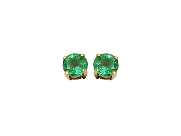Earrings - Lady's Yellow 14 Karat Stud Earrings With 2=4.00Mm Round Emeralds