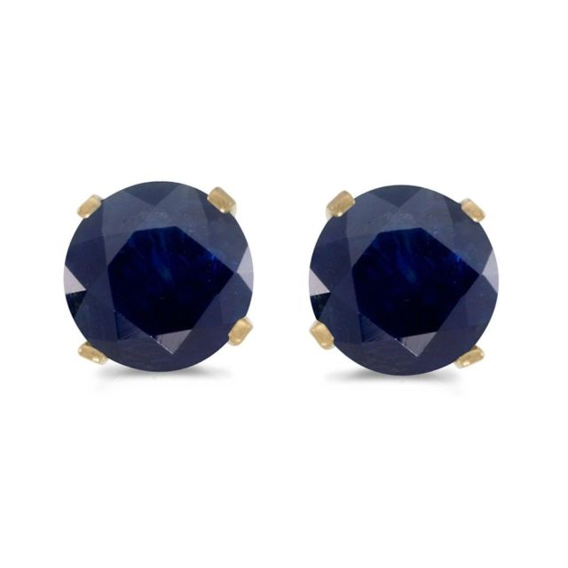 Earrings - Lady's Yellow 14 Karat Stud Earrings With 2=3.00Mm Round Sapphires