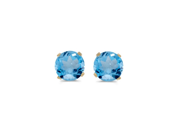 Earrings - 3mm rd blue topaz