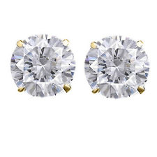 Earrings - Lady's Yellow 14 Karat Stud Earrings With 2= 3mm  Round White Topazs