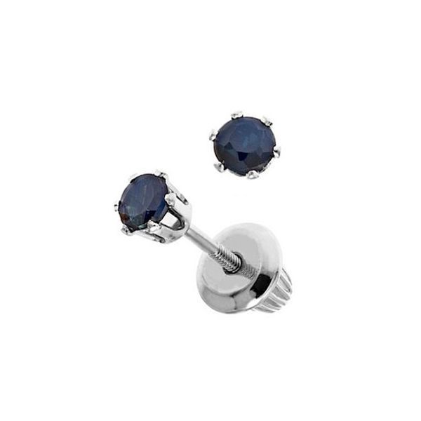Earrings - Child's White 14 Karat Screw back Stud Earrings With 2= Round Sapphires