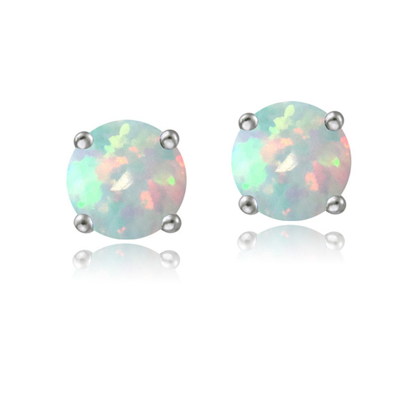 Earrings - Lady's White 14 Karat Stud Earrings With 2=5.00Mm Round Opals