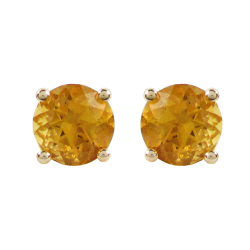 Earrings - Lady's Yellow 14 Karat Stud Earrings With 2= Round Citrines  4mm