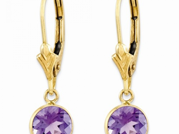 Earrings - Lady's Yellow 14 Karat Leverback Earrings With 2=6.00Mm Round Amethysts