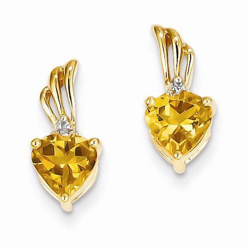 Earrings - Lady's Yellow 14 Karat Drop Heart Shape 6X6 Citrines/ Diamond Earrings With Post