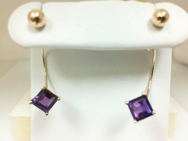 Earrings - Lady's Yellow 14 Karat Dangle Earrings With 2= Square Amethysts