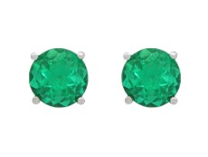 Earrings - Lady's Yellow 14 Karat Stud Earrings With 2=3.00Mm Round Emeralds