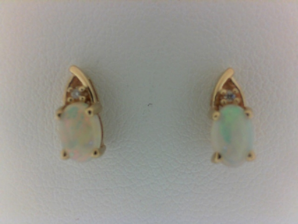 Earrings - Lady's Yellow 14 Karat Earrings With 2=0.46Tw Oval Opals And 2=0.01Tw Round H/I Si2 Diamonds