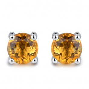 Earrings - Lady's White 14 Karat Stud Earrings With 2=4.00Mm Round Citrines