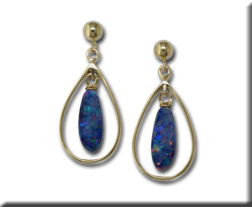 Earrings - Parle Lady's Yellow 14 Karat Dangle Earrings With 2= Various Shape Australian Opal Doublets