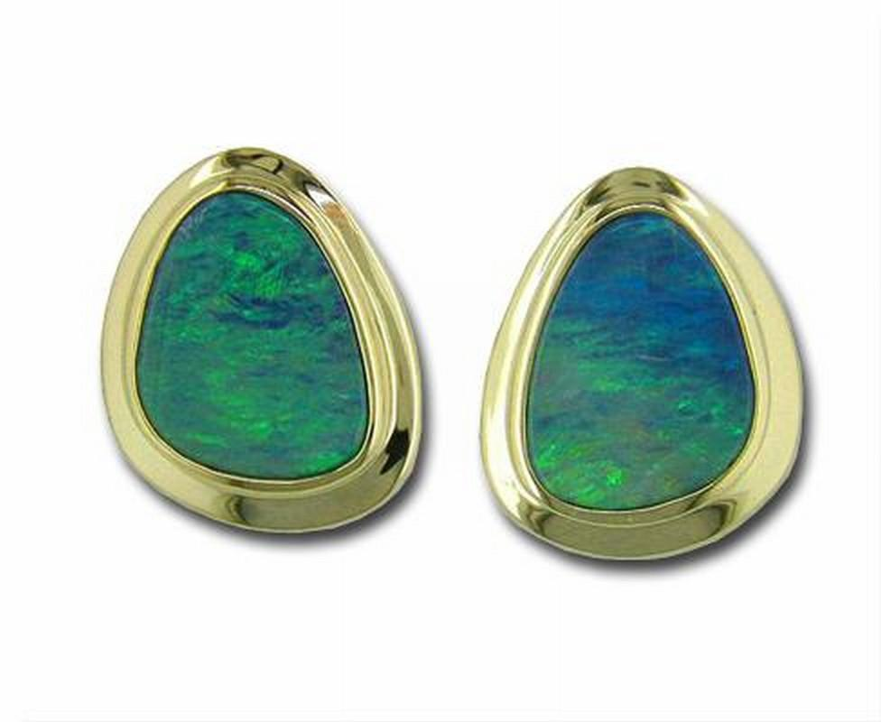 Earrings - Lady's Yellow 14 Karat Stud Bezel Set Earrings With 2= Various Shapes Opal Doublet