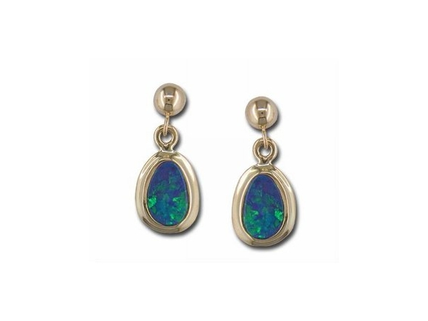 Earrings - Lady's Yellow 14 Karat Dangle Earrings With 2= Various Shape Opal Doublets
