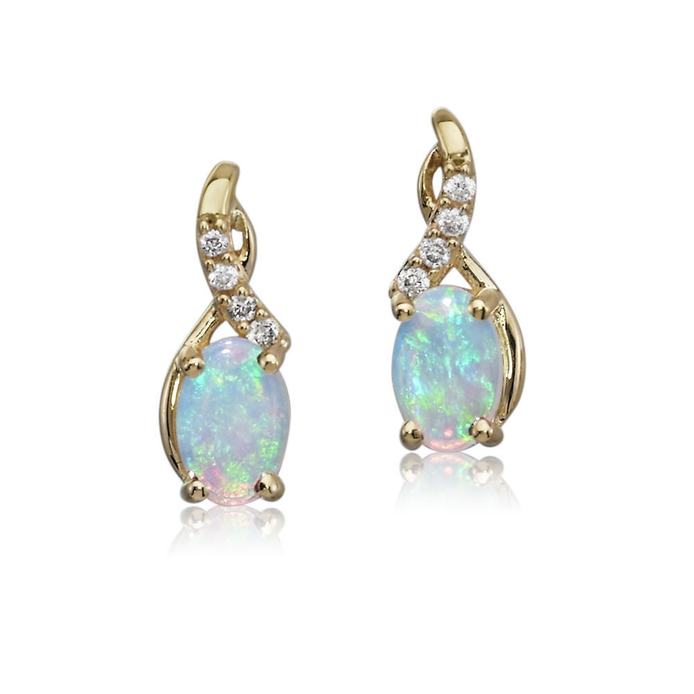 Earrings - Lady's Yellow 14 Karat Drop Earrings With 2=0.46Tw Oval Opals And 8=0.05Tw Round Diamonds