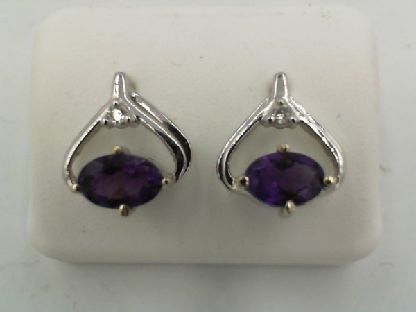 Earrings - Lady's White 14 Karat Birthstone Earrings With 2=6.00X4.00Mm Oval Amethysts And 2=0.04Tw Round Diamonds