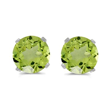 Earrings - 4mm round peridot birthstone stud