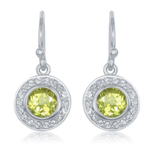 Earrings - Lady's White Sterling Silver Dangle Earrings With 2=0.90Tw Round Peridots And 36=0.14Tw Round White Topazs