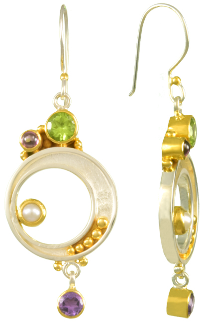 Earrings - Lady's Two Tone Sterling Silver/22Kt Dangle Earrings 2= Round Peridots 2= Cabochon Rhodolite Garnets 2= Round Pearls 2= Round Amethysts
