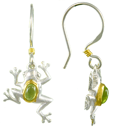 Earrings - Lady's Two Tone Sterling Silver/22Kt Vermeil Frog Dangle Earrings With 2= Oval Peridots