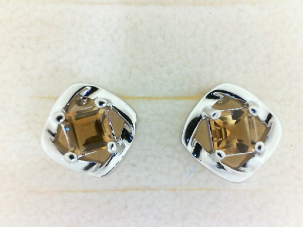 Earrings - Lady's White Sterling Silver Stud Earrings With 2=0.79Tw Princess Citrines