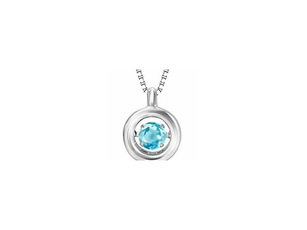 Pendants - Lady's White Sterling Silver Bezel Set Pendant With One= 0.23Ct Round Blue Topaz With 18 Inch Chain