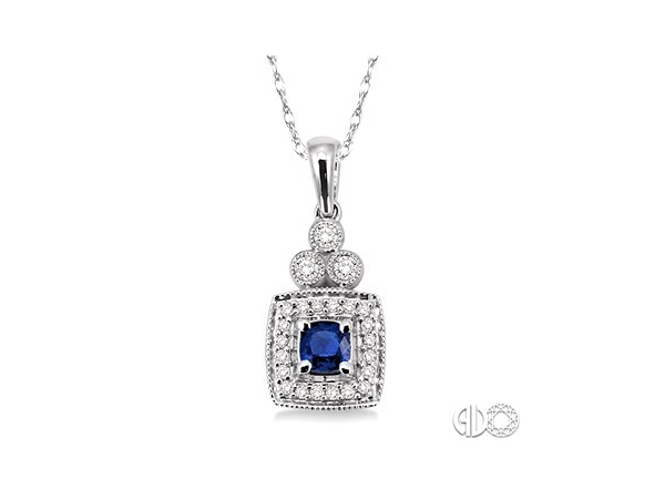 Pendants - Lady's White 14 Karat Drop Pendant With One 4X4Mm Square Cushion Sapphire And 23=0.20Tw Round H/I Si3 Diamonds on 18