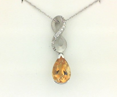 Pendants - Lady's White Gold 14 Karat Dangle Pendant With One 1.05 Ct Pear Shape Citrine And 8=0.05  ctw Round H/I Si2 Diamonds on 18 inch chain Gold Gm Wt: 2.0